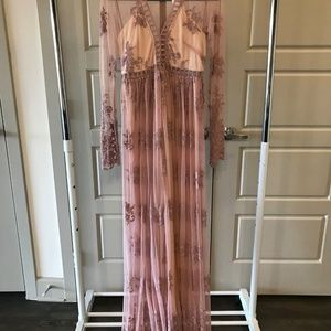 Mauve Boho Lace Maxi Dress